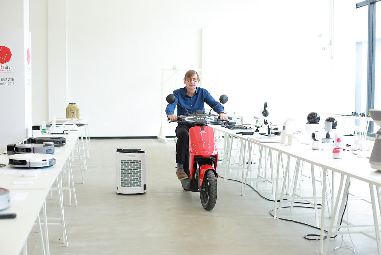 Martin Darbyshire testing a scooter