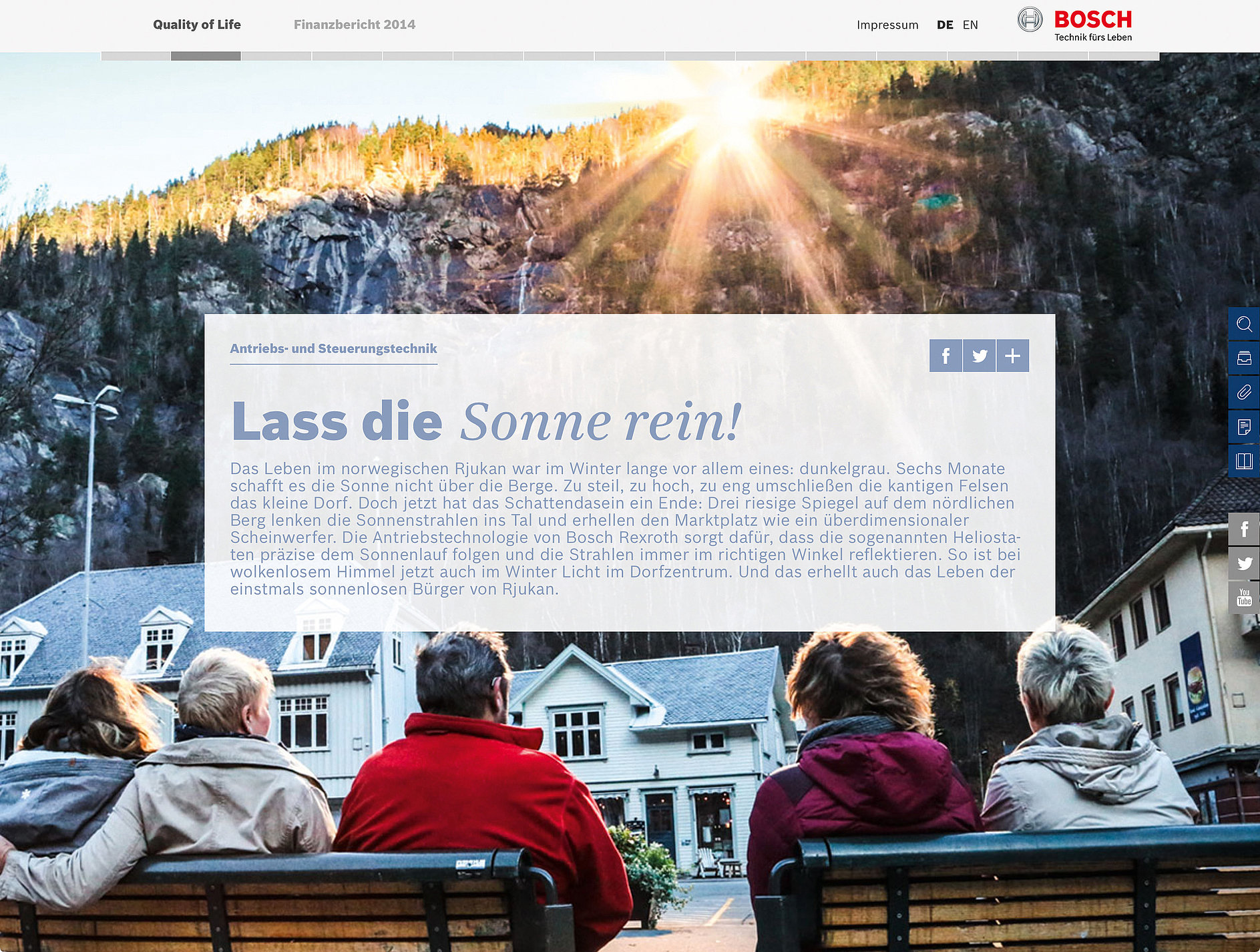 Quality of Life – Bosch Annual Report 2014 | Red Dot Design Award