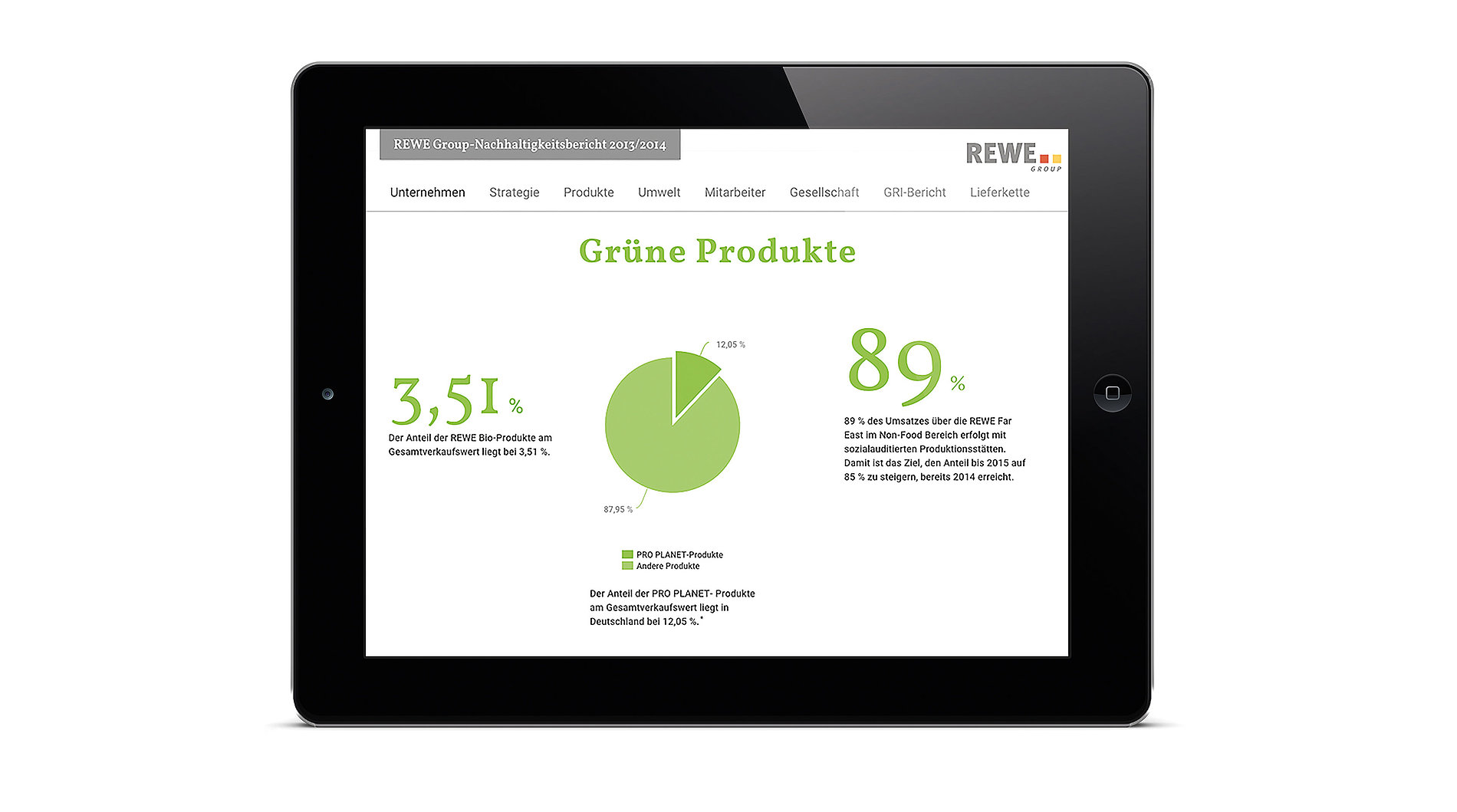 REWE Group ­Sustainability Report 2013 / 2014 | Red Dot Design Award