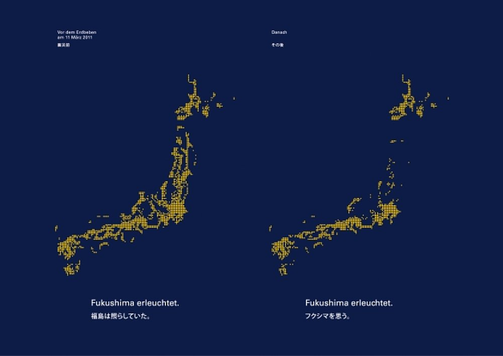 Fukushima erleuchtet.   Red Dot Design Award