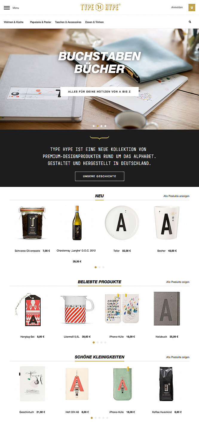 TYPE HYPE – Online Store | Red Dot Design Award